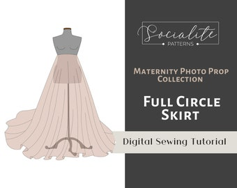 Maternity Full Circle Skirt PDF Tutorial. DIY Maternity Gown For Photo Shoot. For knit fabrics.