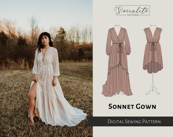 Sonnet Gown Pattern. PDF printable and projector sewing pattern and tutorial. Photoshoot gown. Women's dress pattern.