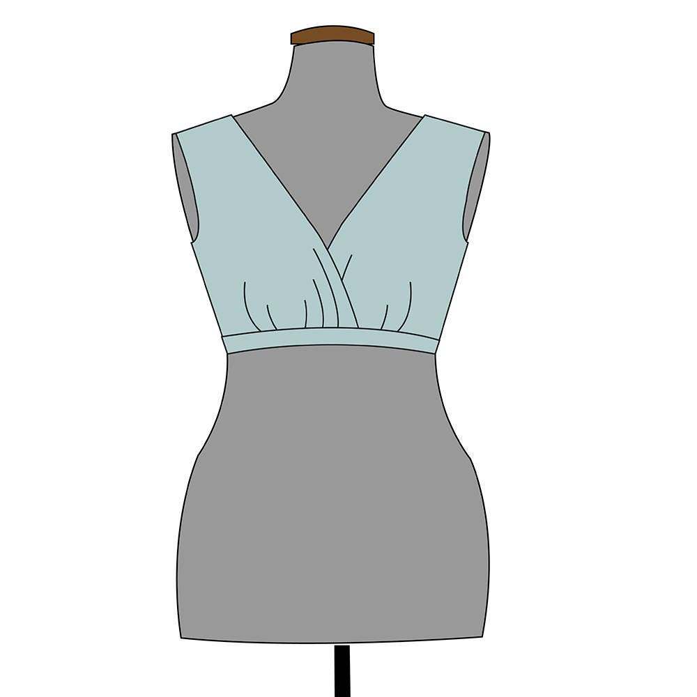 V-neck tank Bodice PDF pattern and tutorial. Sewing pattern.