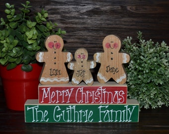 Gingerbread Christmas Decor Personalized Gingerbread Family Block Set-Personalized Christmas Decoration Personalized Holiday