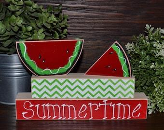 Summertime Watermelon Wood Block Set Chevron Summer Decoration Watermelon Decor Summer Picnic Primitive Seasonal Gift Seasonal Home Decor