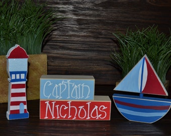 Captain Baby Nursery Nautical Decor Block Set Nautical Nursery Decor Nautical Baby Shower Gift Nautical Favor Nautical Gift Sail Boat