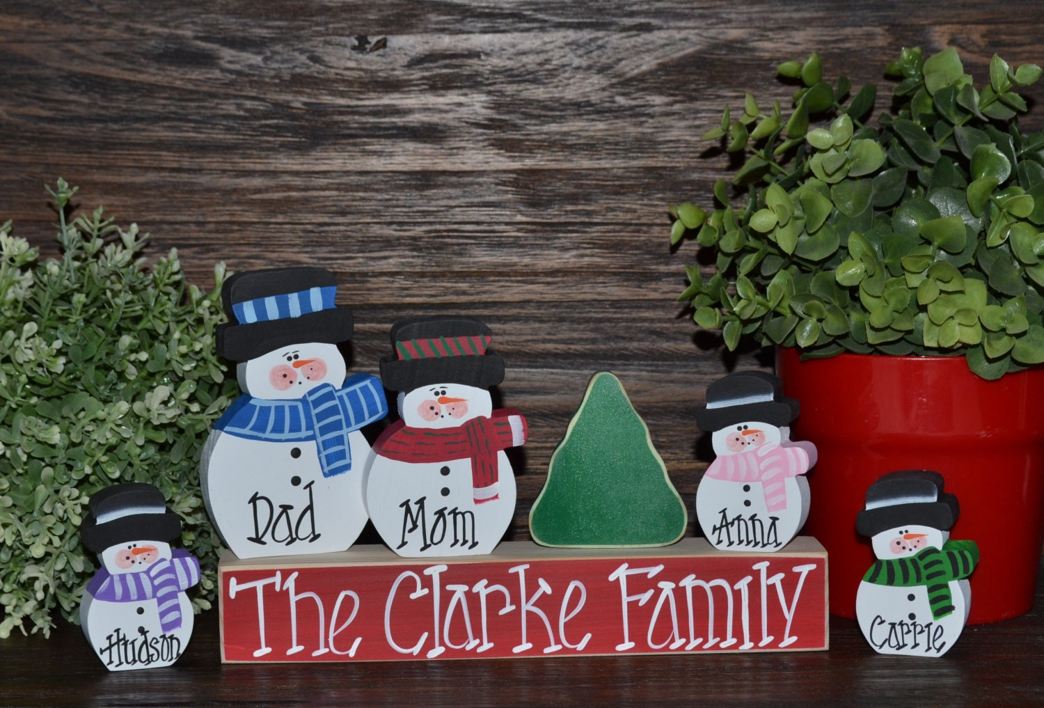 Christmas Decor Personalized Snowmen Family Block