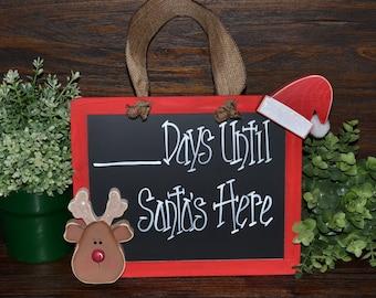 Christmas Countdown Chalkboard Christmas Decor Days Until Christmas Countdown Reindeer Advent Calendar Chalkboard Santa Christmas Sign