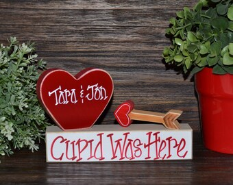 Cupid Was Here Valentine's Day Block Set Personalized Valentines Day Gift Valentine's Decor Block Set