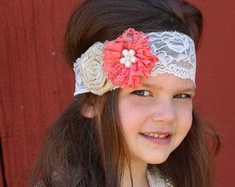 Rustic Coral Burlap Headband, Burlap Lace Headband, Flower Girl Headband, Baby Shower Gift, Newborn Photo Prop, Adult Headband, Teen, Kids