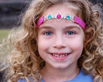 Pink Turquoise Headband, Rhinestone Connector Headband, Baby Shower Gift, Forehead Headband, Teen Headband, Adult Headband, Pink Headband
