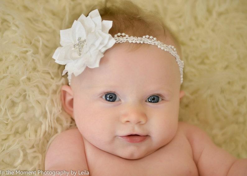 Lace Headband White Baby Hair Band Baptism Wedding Christening