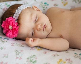 Hot Pink Headband, Lace Baby Headband, Pink Lace Headband, Newborn Photo Prop, Baby Shower Gift, Lace Flower Headband, Newborn Headband