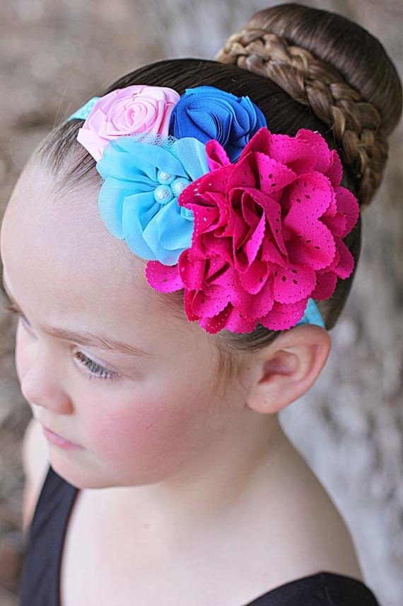 Rose bandeau bleu, bandeau fleur Fuchsia, serre-tête fleur bleue, fleur rose bandeau, serre-tête nouveau-né, Toddler bandeau, Photo Prop