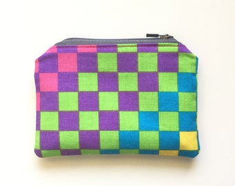 Vintage Neon Checkered Coin Purse / 80s 90s Rad Skateboard Fabric / Tie-Dyed Lining / Purse Organizer / One of a Kind Zipper Pouch