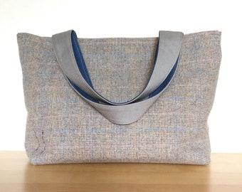 Plaid Tote Bag / One of a Kind Gym Bag / Pink Blue Grey & Mustard Tartan Diaper Bag / Vintage Wool with Floral Lining Weekend Bag