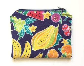 Fruit Salad Wallet / Fruit Print All Purpose Zipper Pouch / Purse Organizer / Toiletries Bag / Makeup Bag