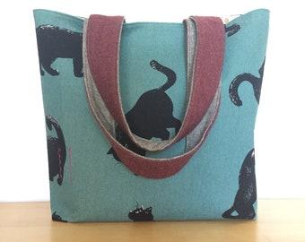 Black Cat Tote Bag / One of a Kind Teal & Maroon Cat Print Purse / Black Cat with Polka Dots Bag / Cat Life Cat Lady