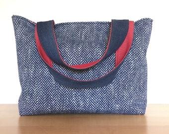 Blue Herringbone and Watermelon Tote Bag / Vintage Fabric and Repurposed Denim Purse / Watermelon Diaper Bag / Eco-Friendly School Bag
