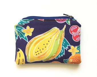 Fruit Print Coin Purse / Tropical Fruit Salad Purse / Purse Organizer Insert / Essential Oils Pouch / One of a Kind Eco-Friendly