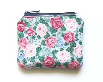 Denim and Rose Eco-Friendly Coin Purse / Blue and Pink Zipper Pouch / Essential Oils Bag / Stocking Stuffer