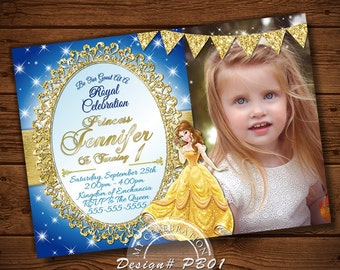 Belle invitations etsy princess belle invitation princess belle birthday invitation princess belle photo invitation belle princess beauty and the beast filmwisefo