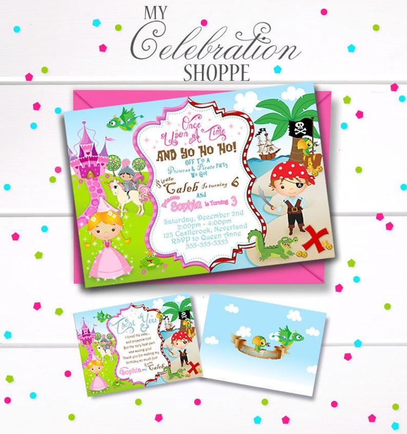 Princess And Pirate Birthday Invitation Sibling Girl Boy Combined Invite Party