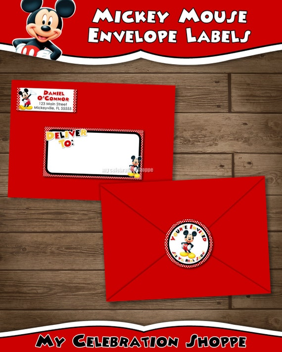 mickey mouse address labels and envelope seal red yellow etsy