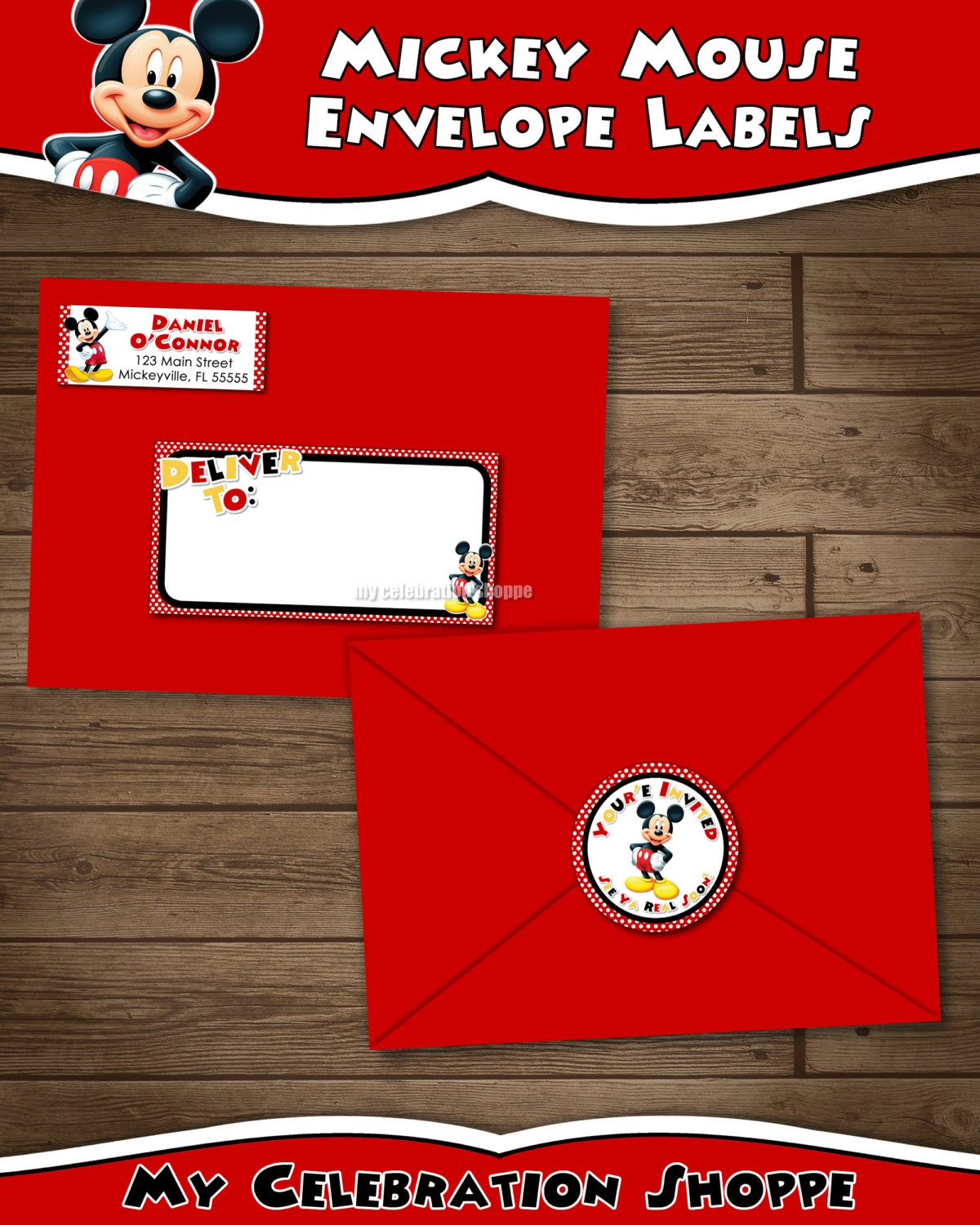 Mickey Mouse Address Labels and Envelope Seal Red Yellow | Etsy