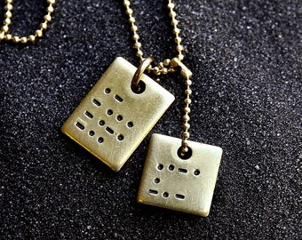 1edcbbeb2705 Morse Code Brass Tags Necklace - Secret Message Necklace - Men's Necklace -  Unisex Jewelry - Personalized Necklace by Modern Out
