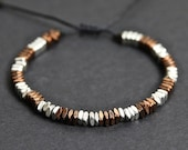 Two-Toned Copper and Silver Beaded Bracelet - Men 39 s Bracelet - Adjustable Bracelet - Men 39 s Jewelry - Bracelet by Modern Out