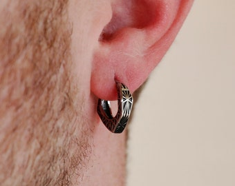 Men's Earring - Geo Hoop Earring - Stainless Steel Earrings for Men - Modern Out