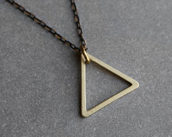 Triangle Necklace - Raw Brass Triangle - Geometric Necklace - Modern Jewelry - Gift's for Him - Necklace for Men by Modern Out