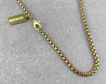 Chain necklace 14 inch 36 inch Bronze necklace Fine cable chain Bronze chain Antique brass chain Mens chain necklace Link size 4.5x3mm