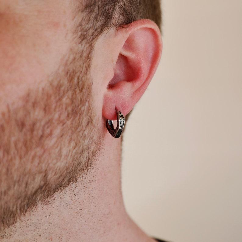 Men's Earring  Geo Hoop Earring  Stainless Steel image 1