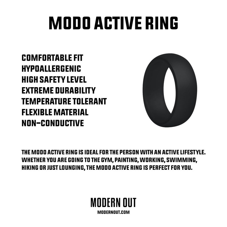by Modern Out MODO Active Ring Black Silicone