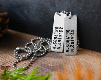 Coordinates Dog Tags - Slim Dog Tag Necklace - Gifts For Him - Unisex - Personalized Dog Tag - Longitude Latitude Jewelry By Modern Out