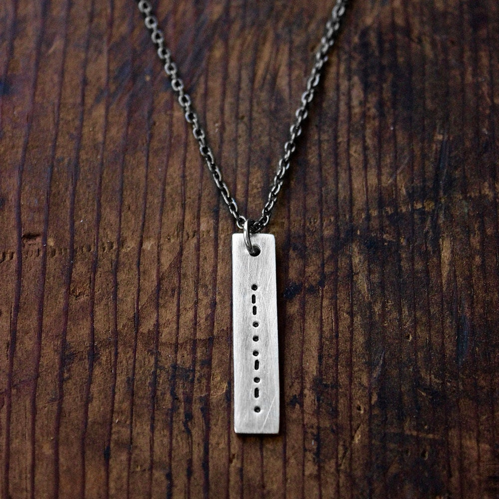 Morse Code Necklace - Secret Message Necklace - Men's Necklace - Unisex Jewelry - Personalized Necklace by Modern Out
