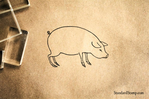 big pig rubber stamp 2 x 2 inches etsy