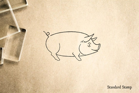 happy pig rubber stamp 2 x 2 inches etsy
