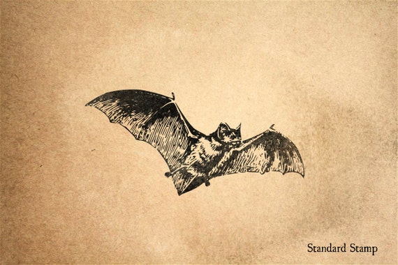 Bat Rubber Stamp 3 X 2 Inches