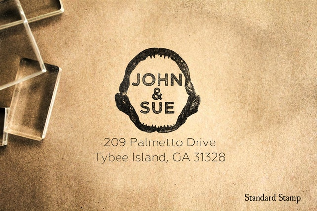 Return Address Shark Jaws Rubber Stamp - 3 x 2 inches