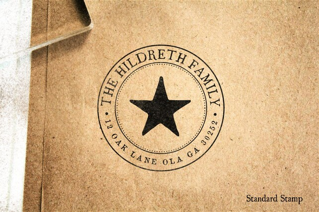 Reserved - Return Address Star Seal Rubber Stamp - 2 x 2 inches