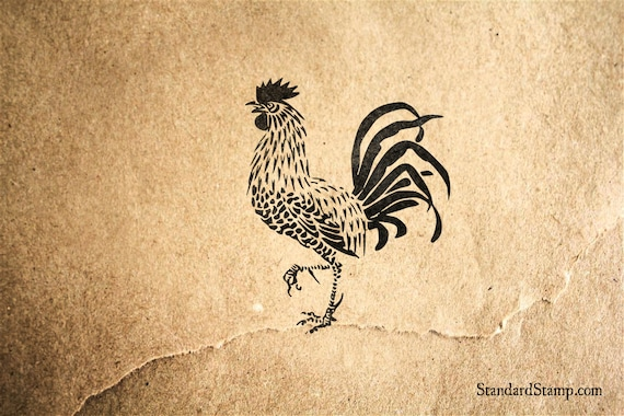 King Rooster Rubber Stamp 2 X Inches