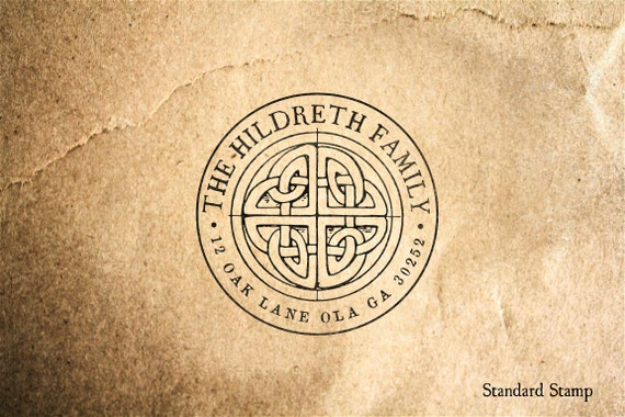 Return Address Celtic Knot Rubber Stamp - 3 x 2 inches