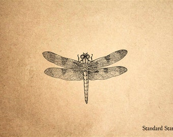 Dragonfly Overhead Rubber Stamp - 2 x 2 inches