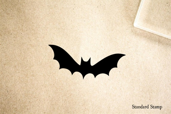 Bat Cartoon Silhouette Rubber Stamp