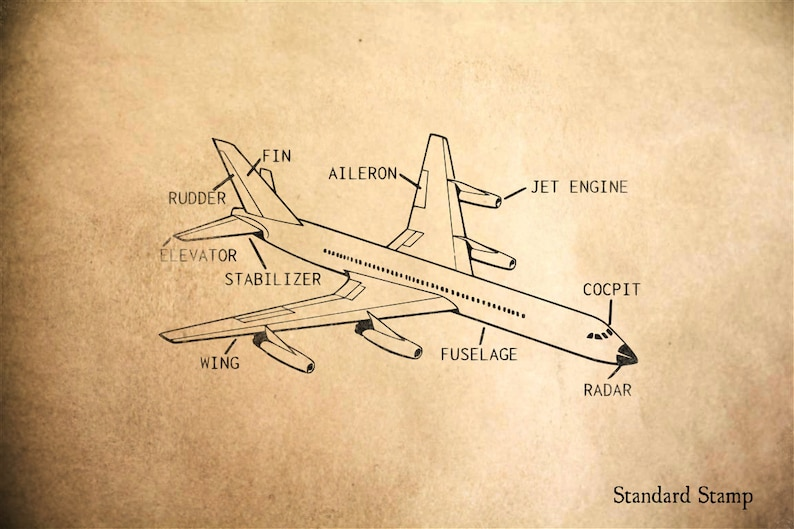 Brilliant Airplane Diagram Rubber Stamp 2 X 3 Inches Etsy Wiring 101 Capemaxxcnl
