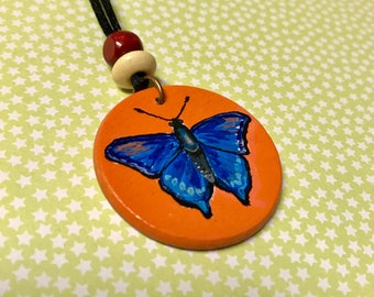 Blue Butterfly painted necklace