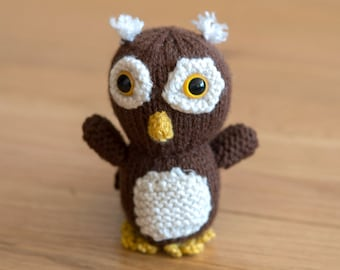 Mini Knitted Plush Owl - Baby Shower, Nursery, Stuffed Animal, Toy, Desk Companion and more