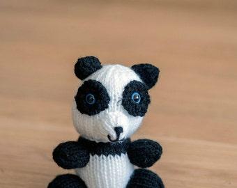 Mini Knitted Plush Panda Bear - Toy, Baby Shower, Stuffed Animal, Nursery, Toy, Desk Companion and more