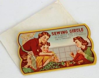 Vintage 1940s Sewing Circle Needle Book / Sewing Kit / Needle Set / Assorted Needles / Needle Threader / Japan