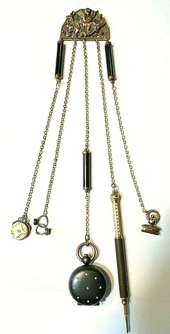 Vintage Victorian Gunmetal Chatelaine Pin Brooch F