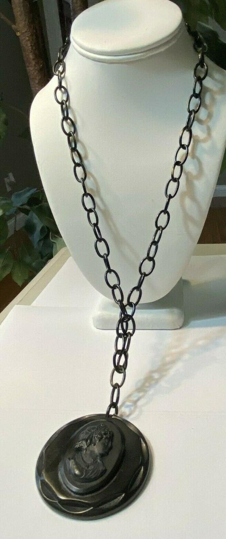 Vintage Black Celluloid Cameo Necklace Black Torto